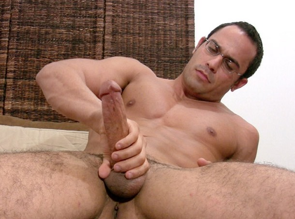 jerking off his giant tool
